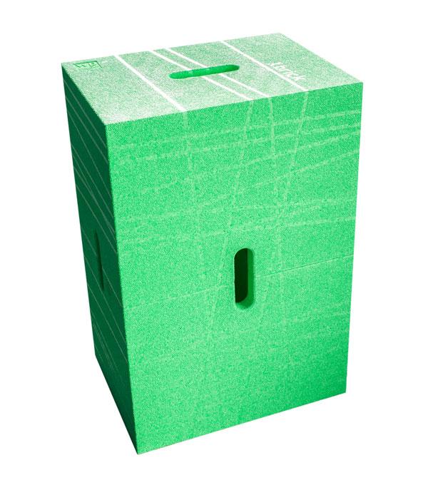 Der Xbrick® Sitzhocker in grün - multimodulares Möbel mit patentiertem Design